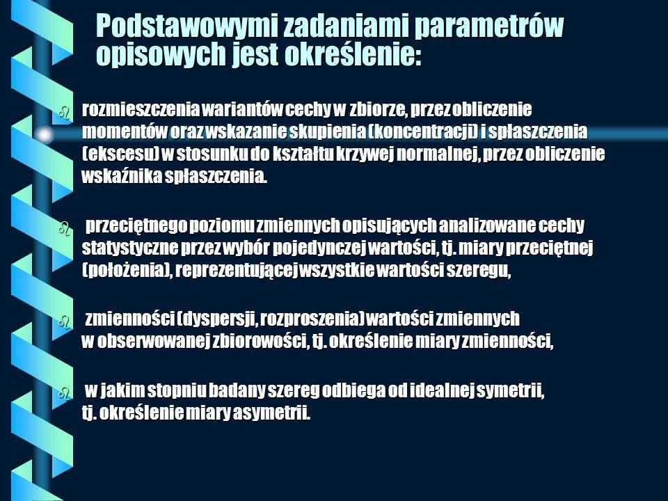 Podstawowymi zadaniami parametrów opisowych jest określenie: