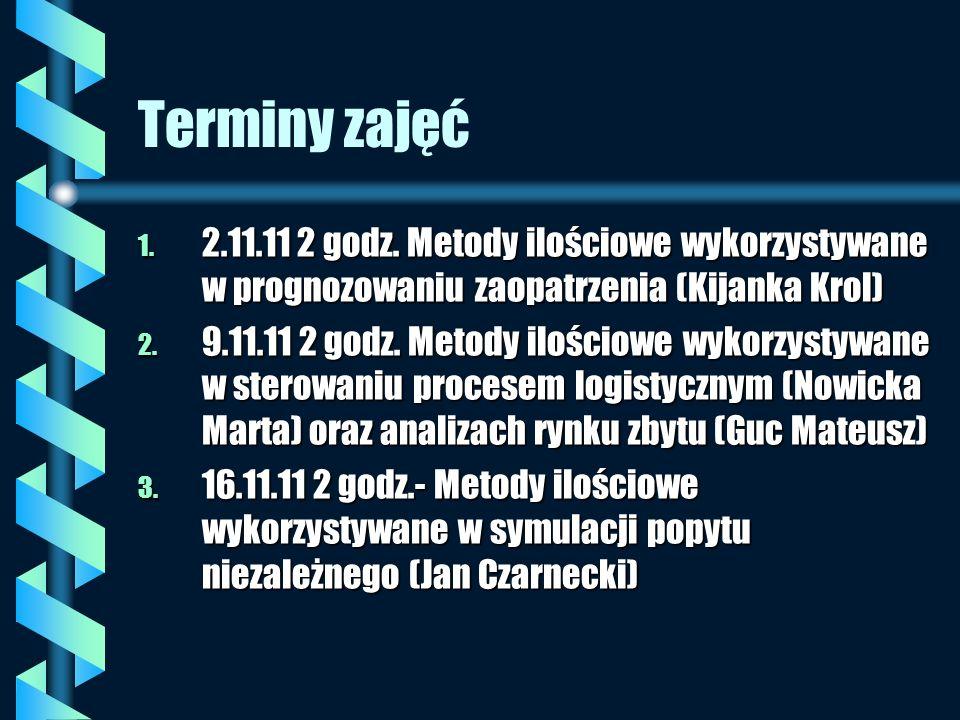 Terminy zajęć 2.11.11 2 godz. Metody ilościowe wykorzystywane w prognozowaniu zaopatrzenia (Kijanka Krol)