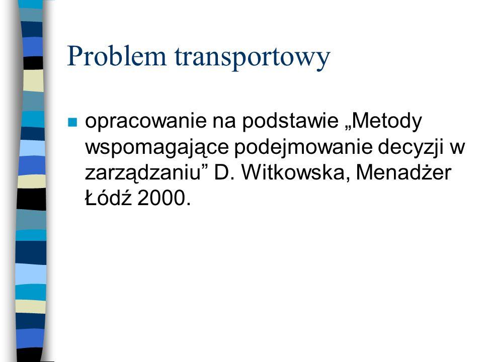 """Problem transportowy opracowanie na podstawie """"Metody wspomagające podejmowanie decyzji w zarządzaniu D."""