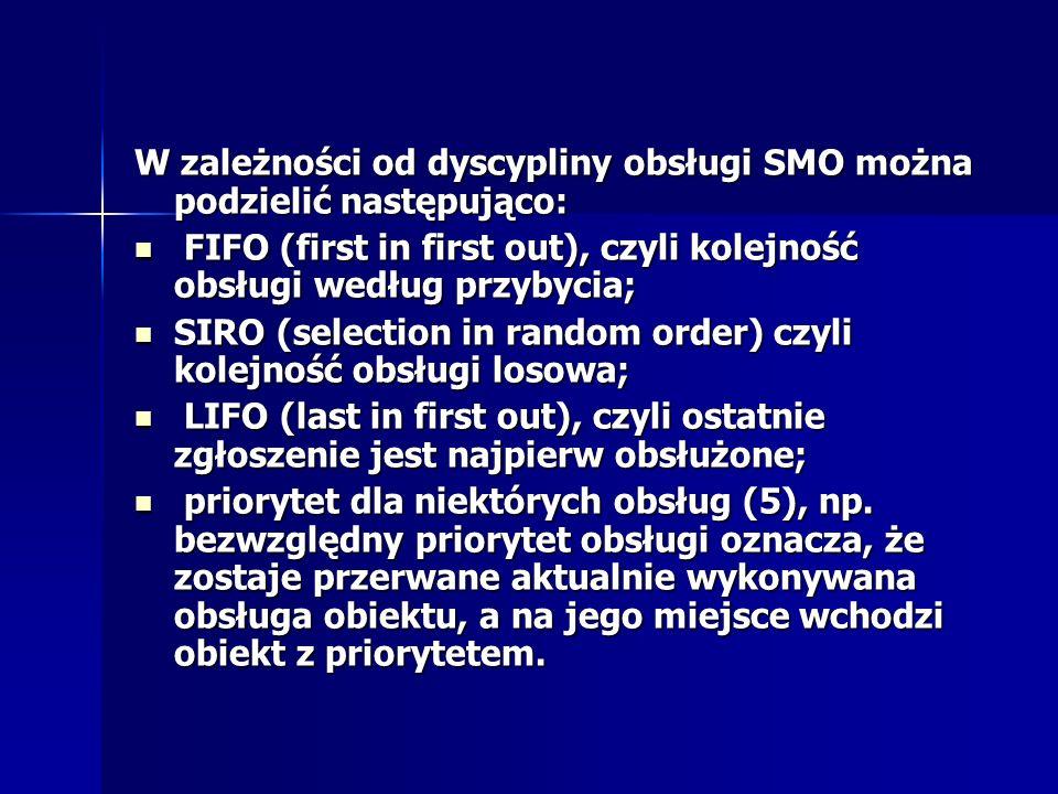W zależności od dyscypliny obsługi SMO można podzielić następująco: