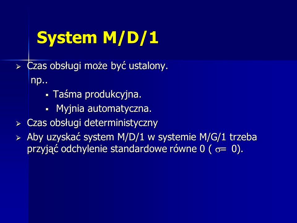 System M/D/1 Czas obsługi może być ustalony. np.. Taśma produkcyjna.