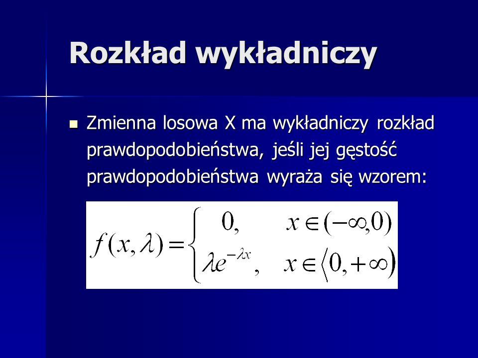 Rozkład wykładniczy Zmienna losowa X ma wykładniczy rozkład prawdopodobieństwa, jeśli jej gęstość prawdopodobieństwa wyraża się wzorem: