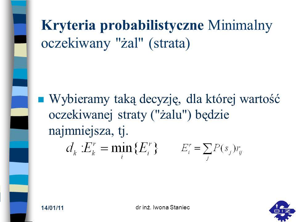 Kryteria probabilistyczne Minimalny oczekiwany żal (strata)