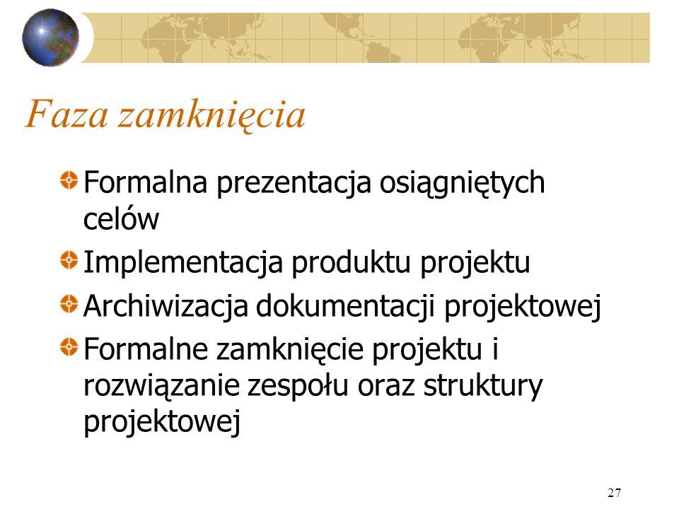 Faza zamknięcia Formalna prezentacja osiągniętych celów