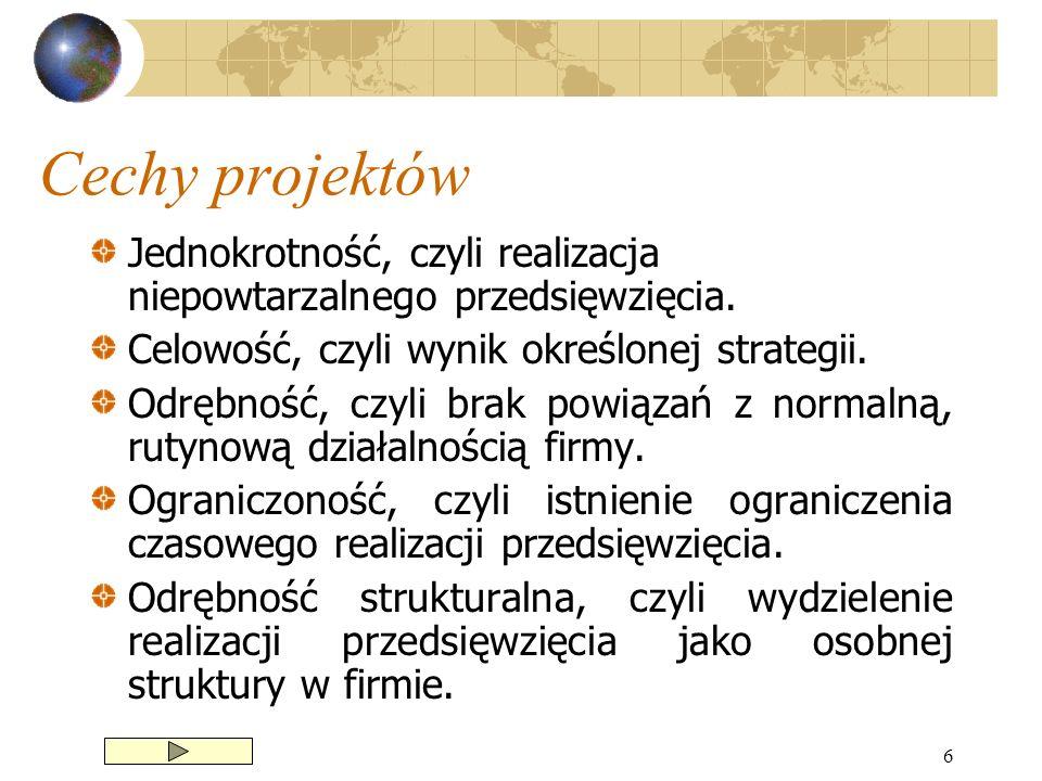 Cechy projektów Jednokrotność, czyli realizacja niepowtarzalnego przedsięwzięcia. Celowość, czyli wynik określonej strategii.
