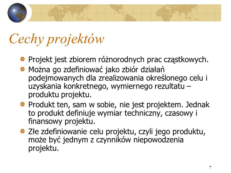 Cechy projektów Projekt jest zbiorem różnorodnych prac cząstkowych.