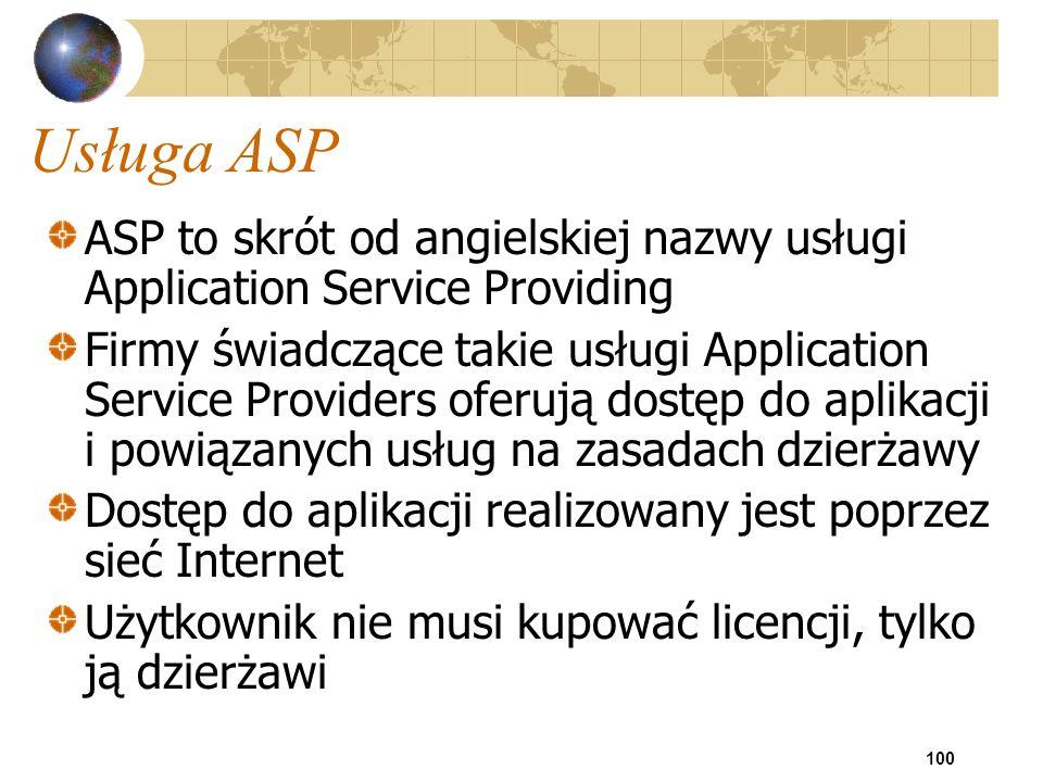 Usługa ASP ASP to skrót od angielskiej nazwy usługi Application Service Providing.