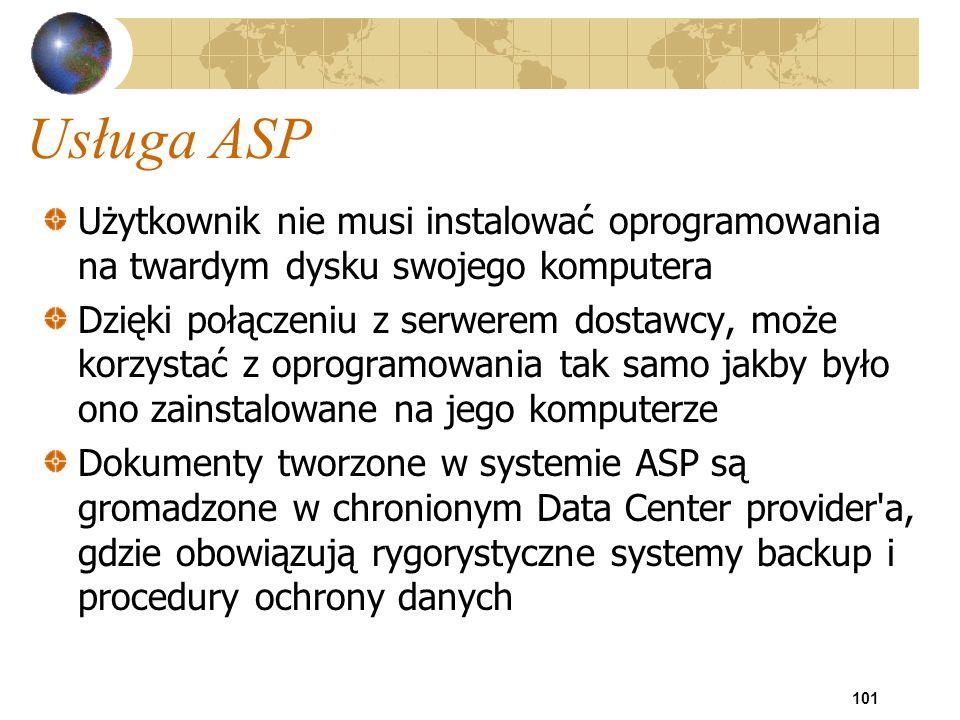 Usługa ASP Użytkownik nie musi instalować oprogramowania na twardym dysku swojego komputera.