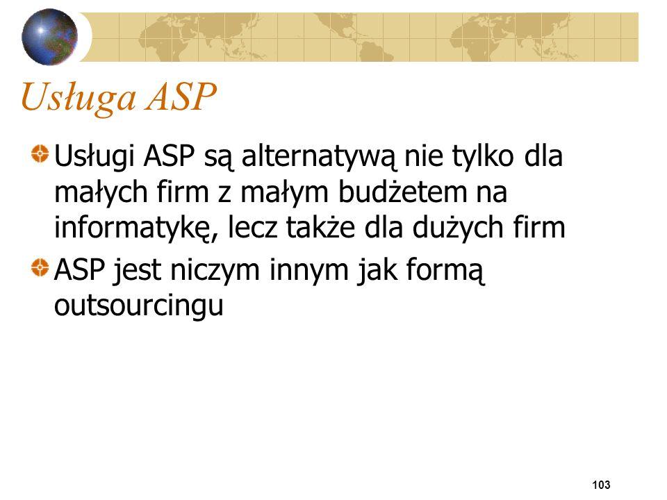 Usługa ASP Usługi ASP są alternatywą nie tylko dla małych firm z małym budżetem na informatykę, lecz także dla dużych firm.