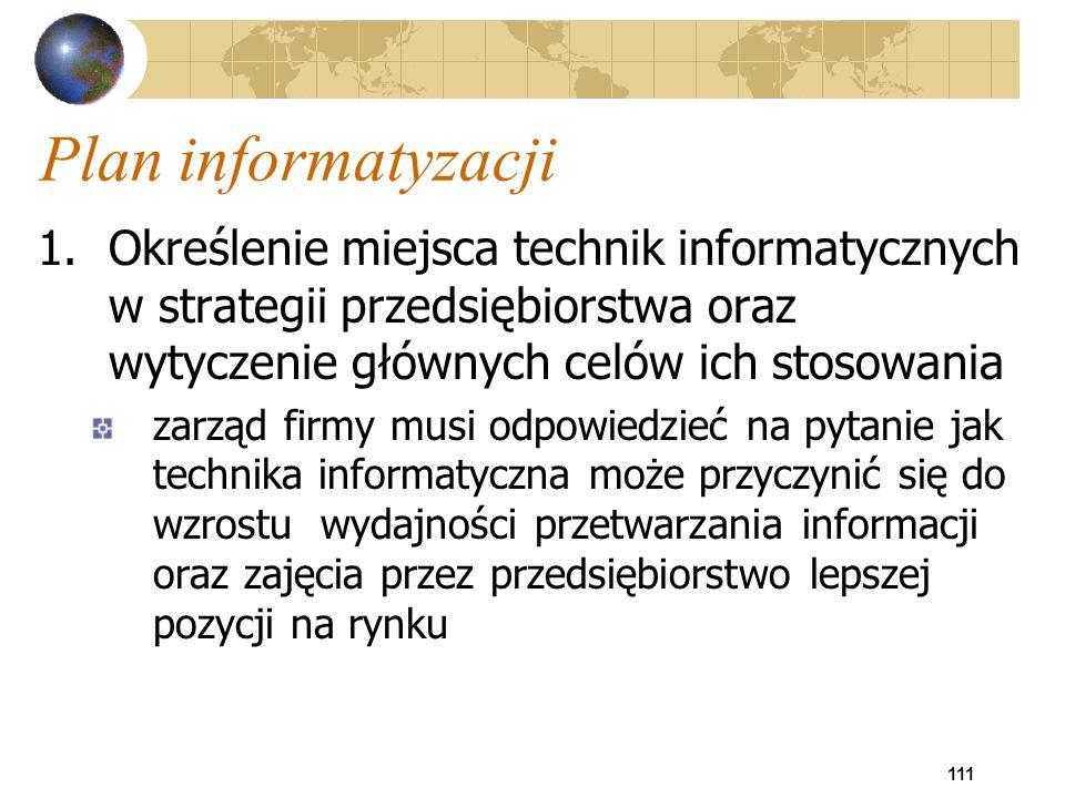 Plan informatyzacji 1. Określenie miejsca technik informatycznych w strategii przedsiębiorstwa oraz wytyczenie głównych celów ich stosowania.