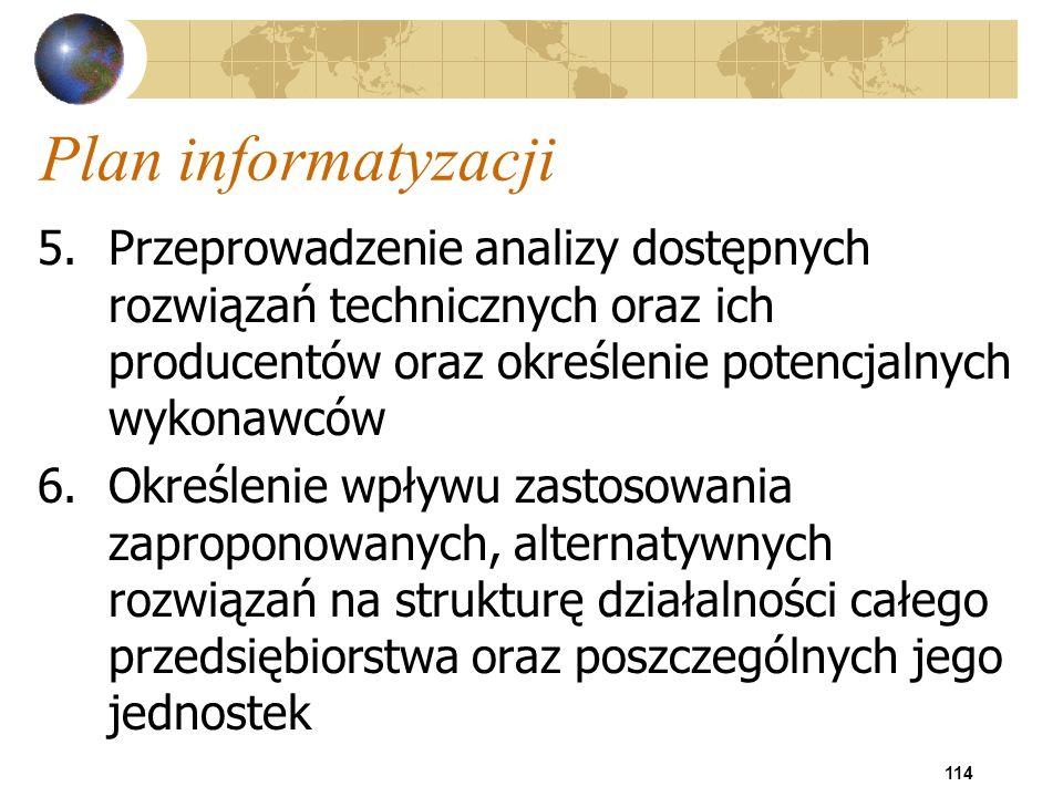 Plan informatyzacji Przeprowadzenie analizy dostępnych rozwiązań technicznych oraz ich producentów oraz określenie potencjalnych wykonawców.