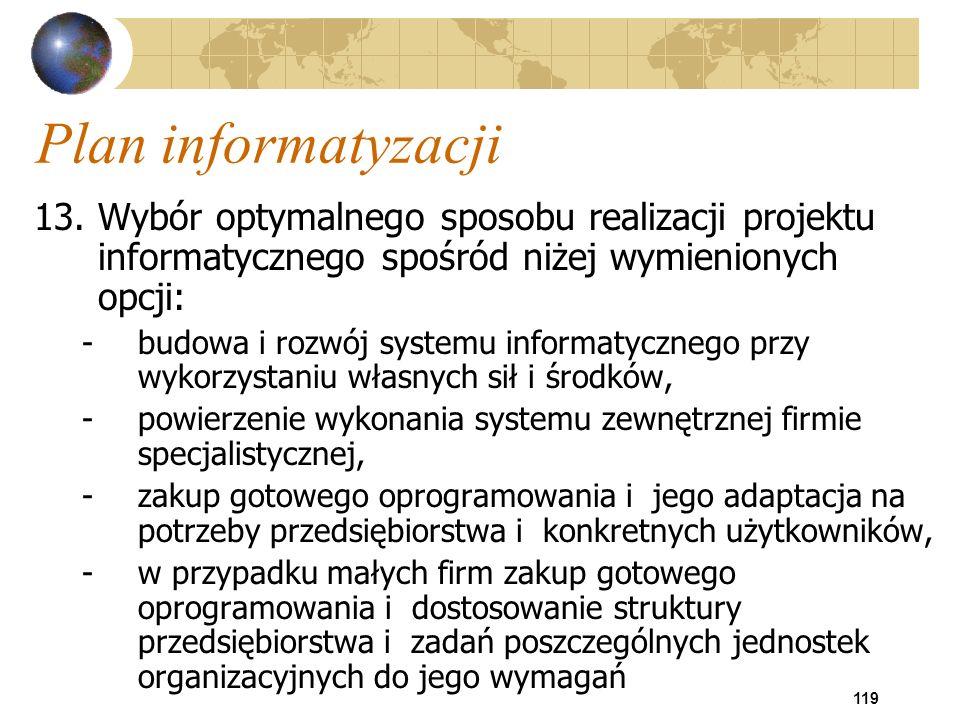 Plan informatyzacji 13. Wybór optymalnego sposobu realizacji projektu informatycznego spośród niżej wymienionych opcji: