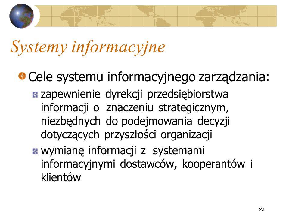 Systemy informacyjne Cele systemu informacyjnego zarządzania: