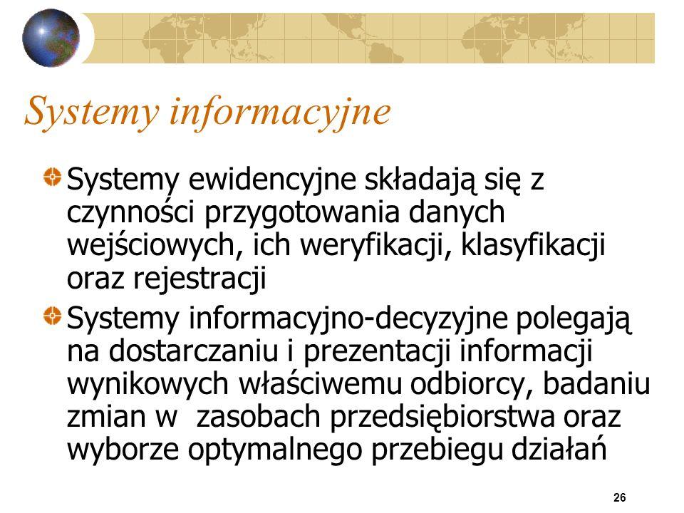 Systemy informacyjne Systemy ewidencyjne składają się z czynności przygotowania danych wejściowych, ich weryfikacji, klasyfikacji oraz rejestracji.