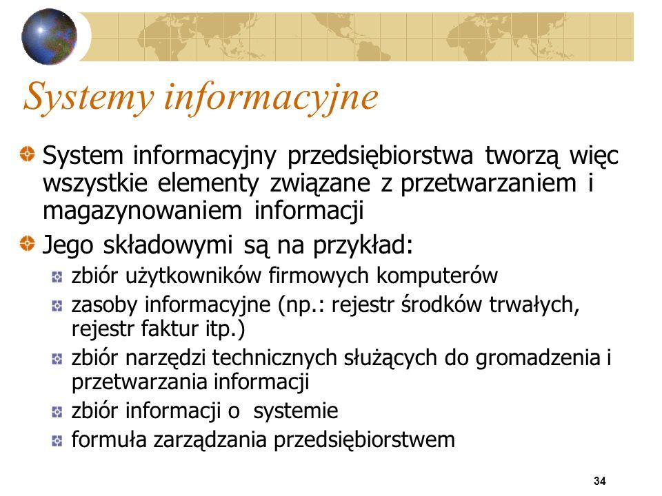 Systemy informacyjne System informacyjny przedsiębiorstwa tworzą więc wszystkie elementy związane z przetwarzaniem i magazynowaniem informacji.