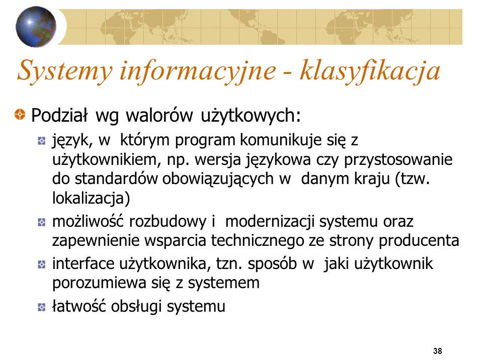 Systemy informacyjne - klasyfikacja