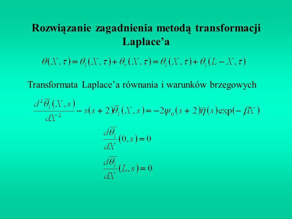 Rozwiązanie zagadnienia metodą transformacji Laplace'a