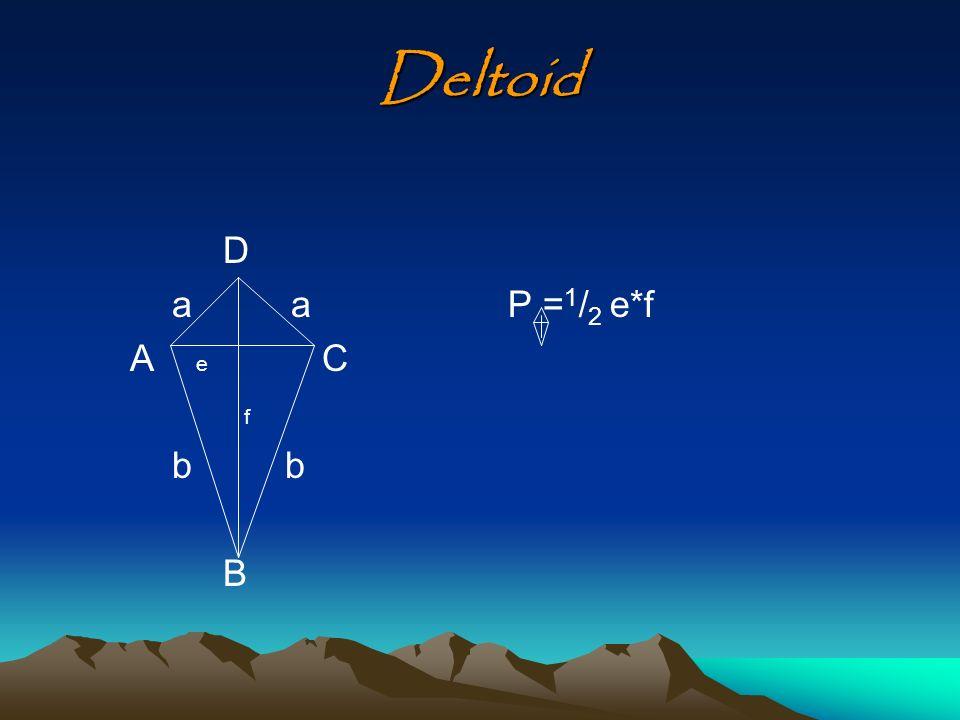 Deltoid D a a A e C f b b B P =1/2 e*f