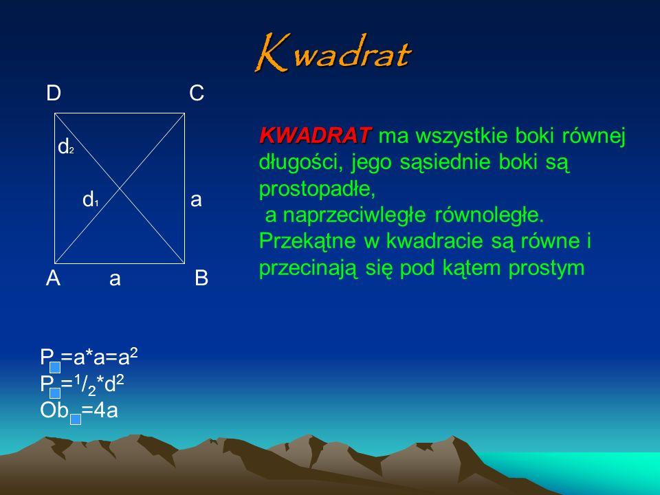 Kwadrat D C d2 KWADRAT ma wszystkie boki równej