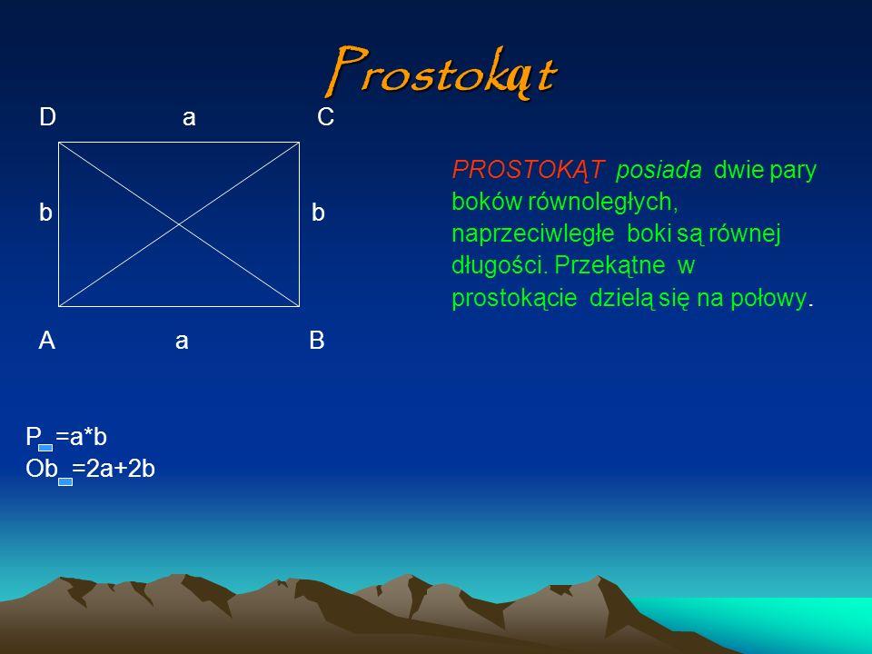 Prostokąt D a C b b PROSTOKĄT posiada dwie pary boków równoległych,