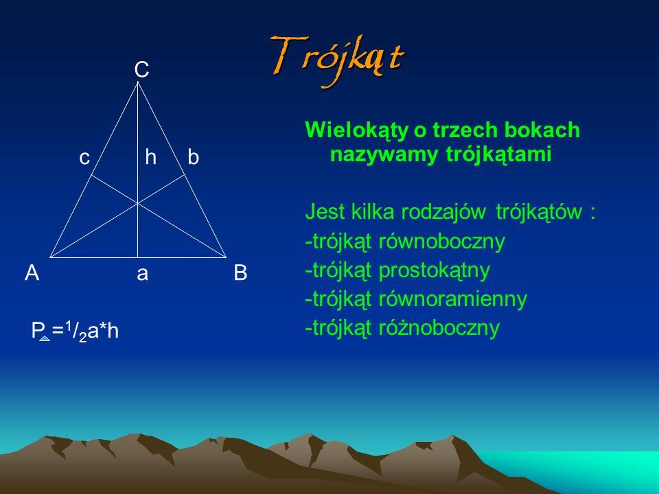 Trójkąt C c h b Wielokąty o trzech bokach nazywamy trójkątami A a B