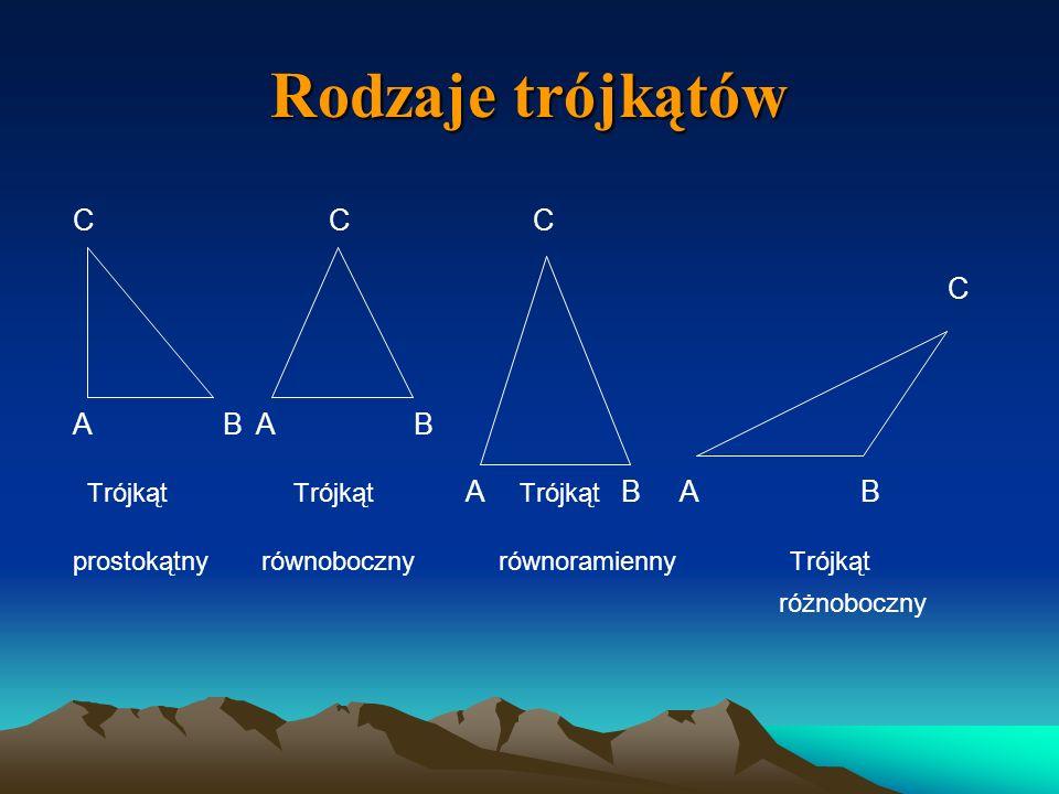 Rodzaje trójkątów C C C C A B A B Trójkąt Trójkąt A Trójkąt B A B