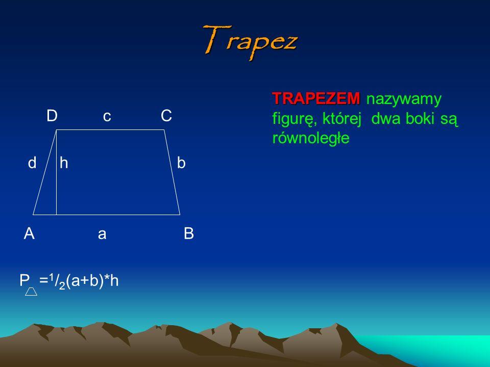 Trapez TRAPEZEM nazywamy figurę, której dwa boki są równoległe D c C