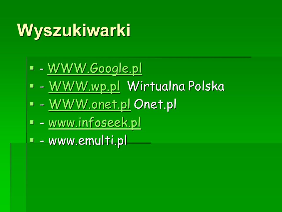 Wyszukiwarki - WWW.Google.pl - WWW.wp.pl Wirtualna Polska
