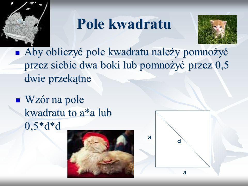 Pole kwadratu Aby obliczyć pole kwadratu należy pomnożyć przez siebie dwa boki lub pomnożyć przez 0,5 dwie przekątne.