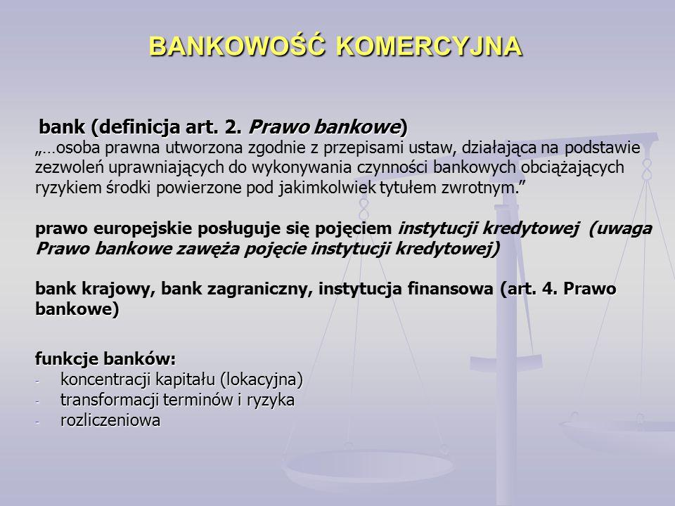 BANKOWOŚĆ KOMERCYJNA bank (definicja art. 2. Prawo bankowe)