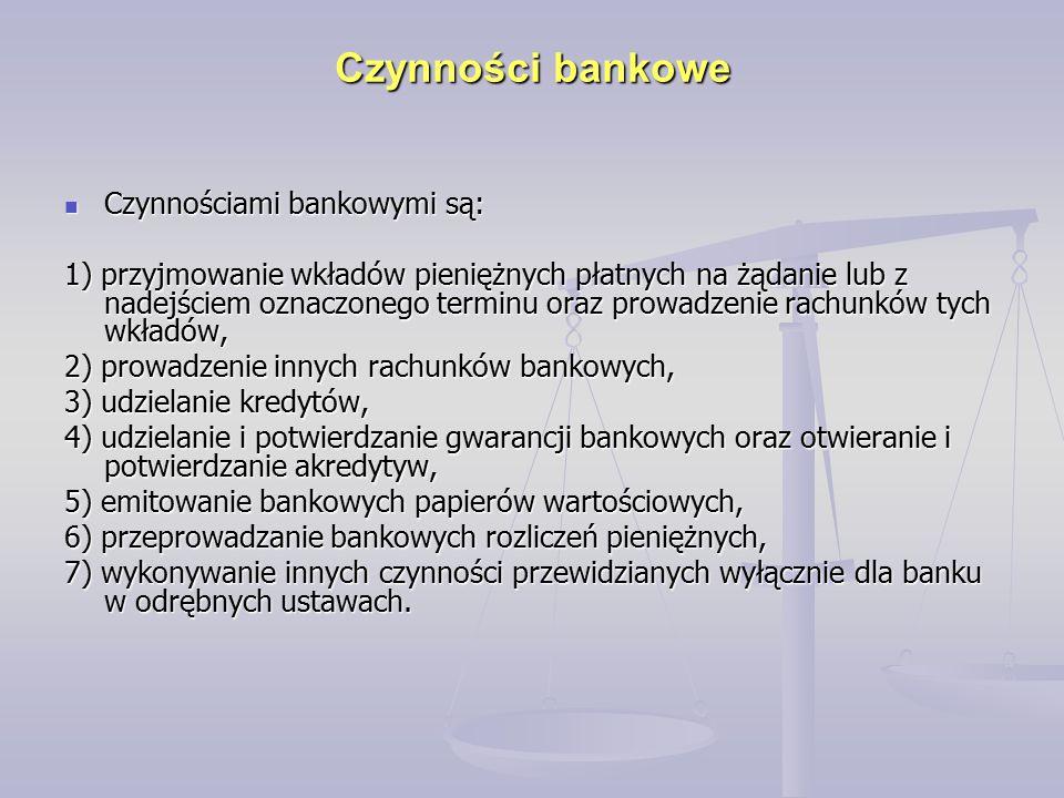 Czynności bankowe Czynnościami bankowymi są: