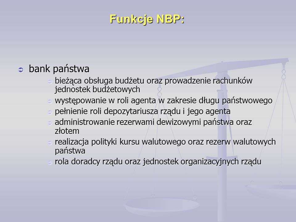 Funkcje NBP: bank państwa