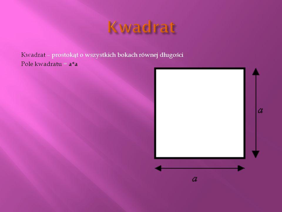 Kwadrat Kwadrat – prostokąt o wszystkich bokach równej długości Pole kwadratu = a*a