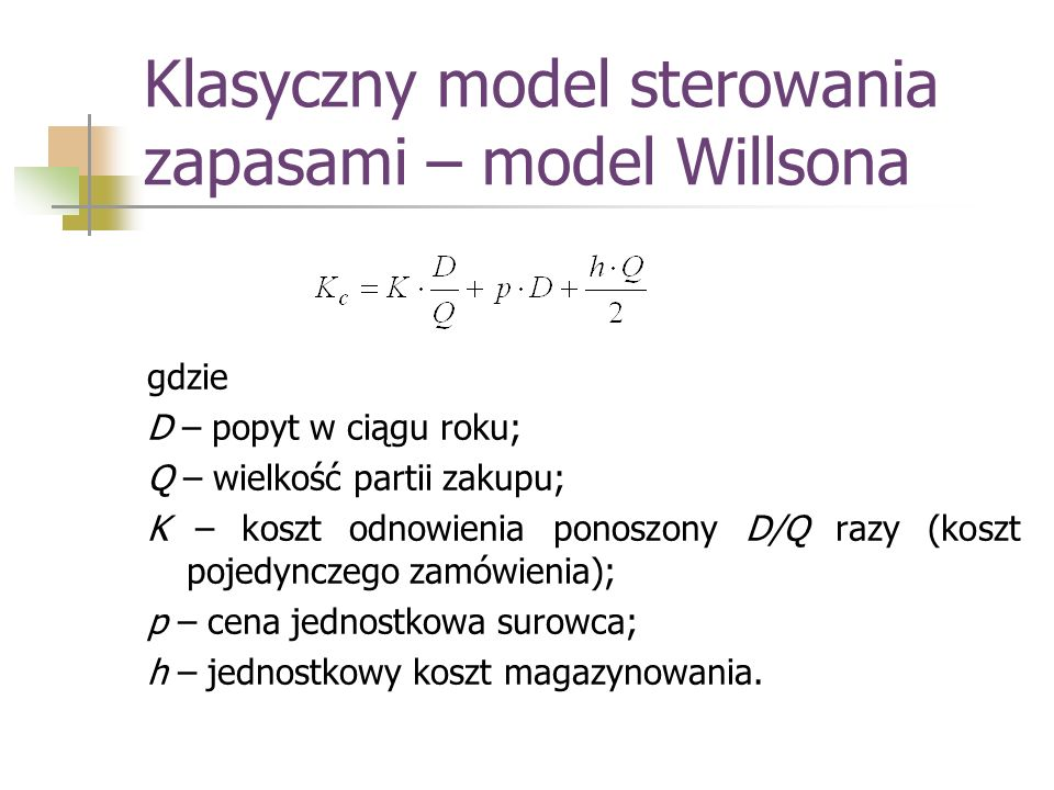 Klasyczny model sterowania zapasami – model Willsona