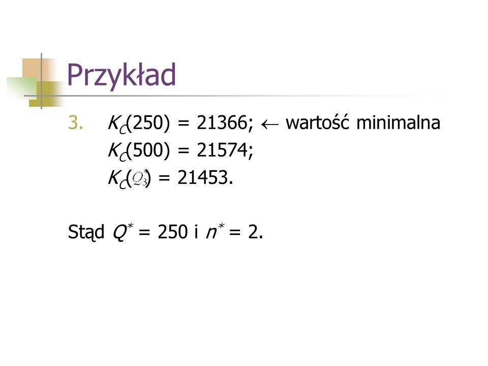 Przykład KC(250) = 21366;  wartość minimalna KC(500) = 21574;