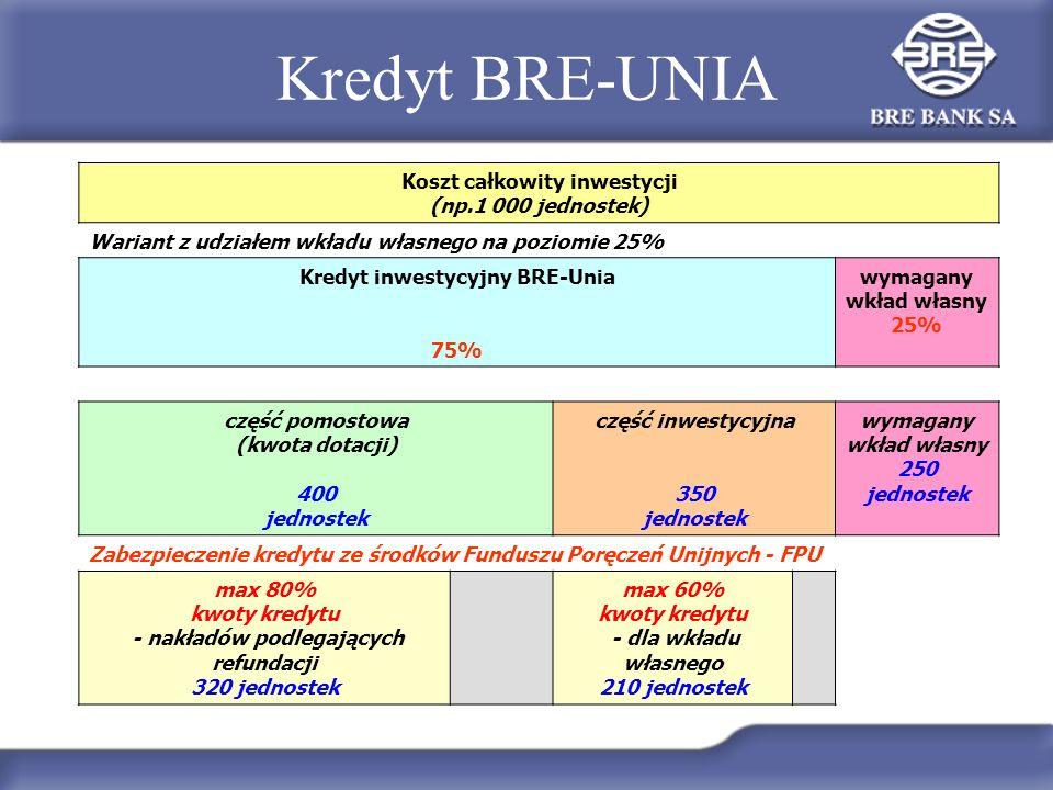 Kredyt BRE-UNIA Koszt całkowity inwestycji (np.1 000 jednostek)
