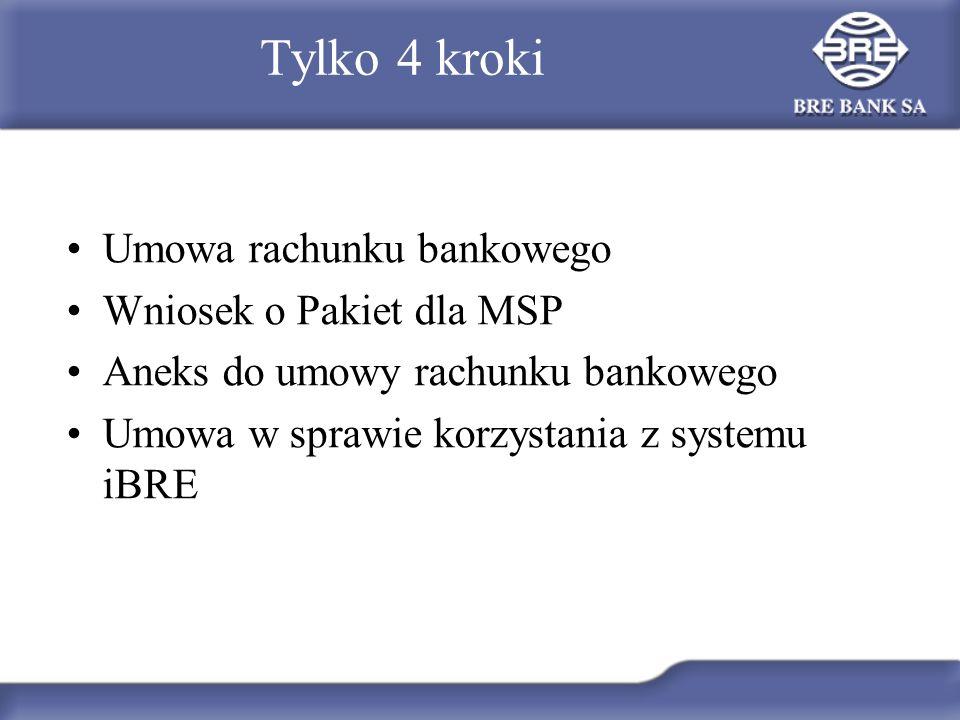Tylko 4 kroki Umowa rachunku bankowego Wniosek o Pakiet dla MSP