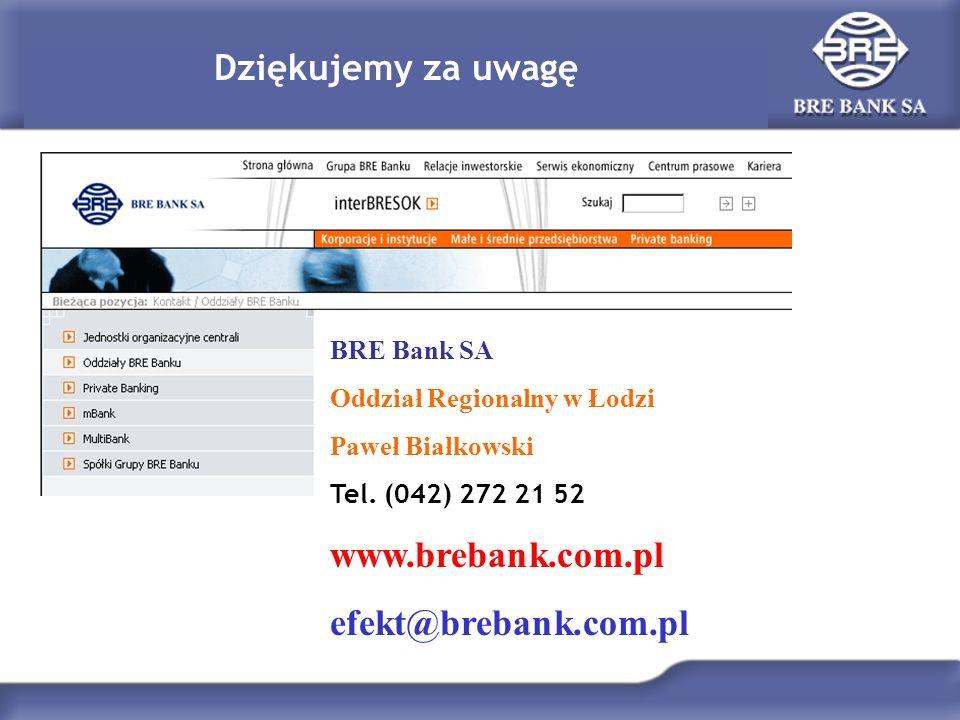 www.brebank.com.pl efekt@brebank.com.pl Dziękujemy za uwagę