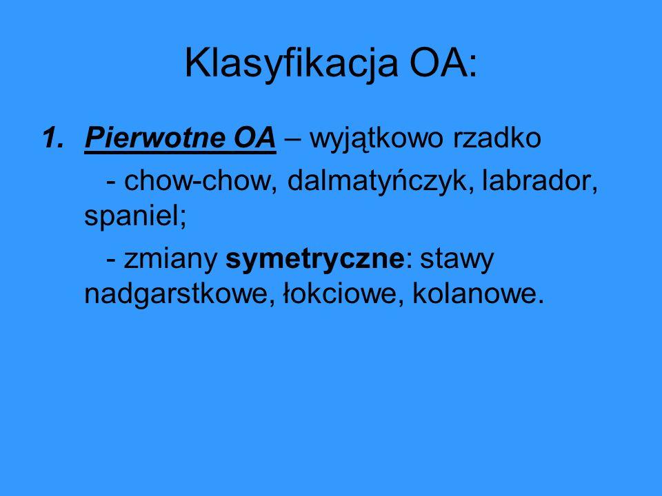 Klasyfikacja OA: Pierwotne OA – wyjątkowo rzadko