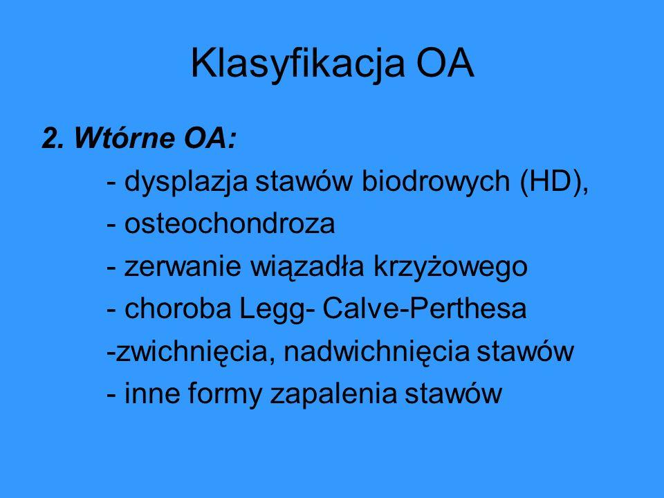 Klasyfikacja OA 2. Wtórne OA: - dysplazja stawów biodrowych (HD),