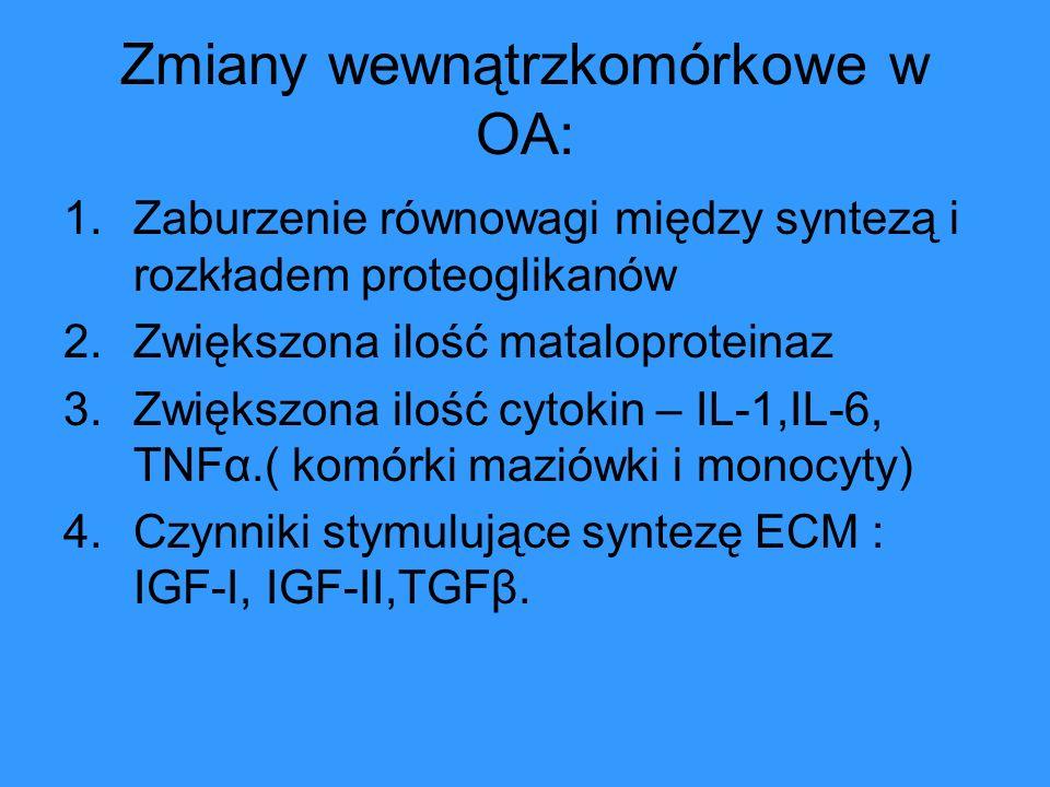 Zmiany wewnątrzkomórkowe w OA: