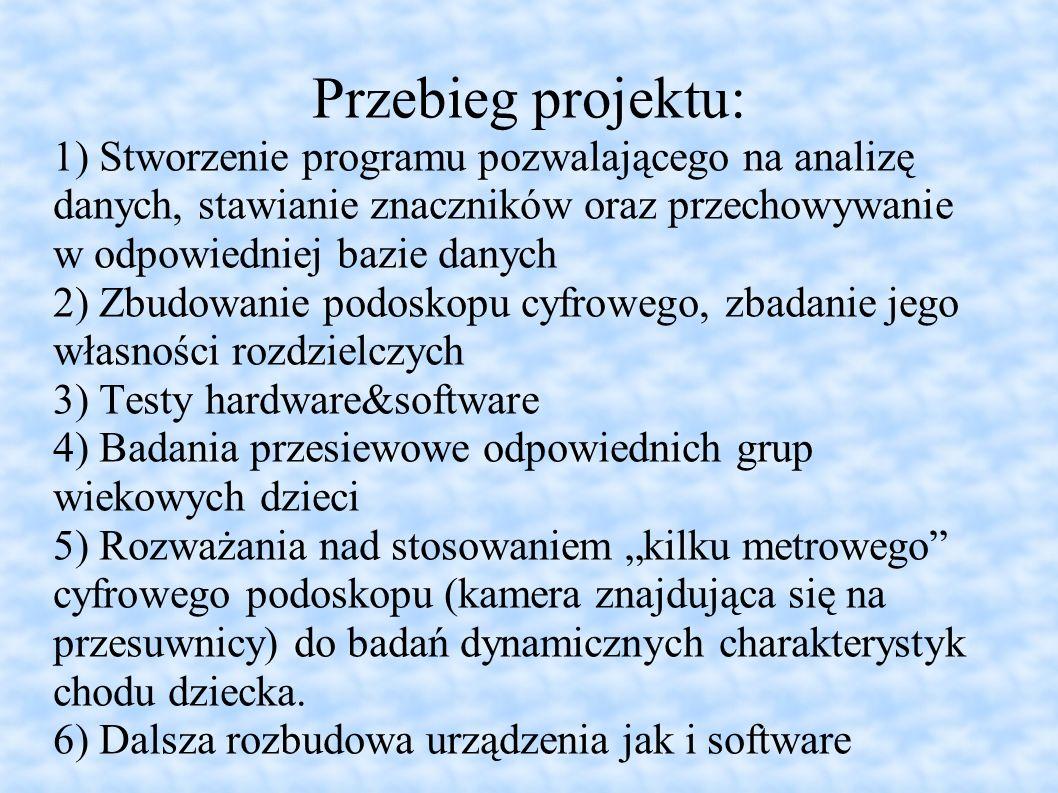 Przebieg projektu: 1) Stworzenie programu pozwalającego na analizę danych, stawianie znaczników oraz przechowywanie w odpowiedniej bazie danych.