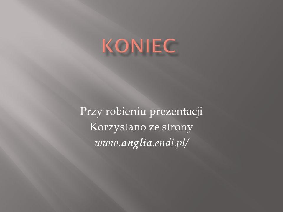 Przy robieniu prezentacji Korzystano ze strony www.anglia.endi.pl/