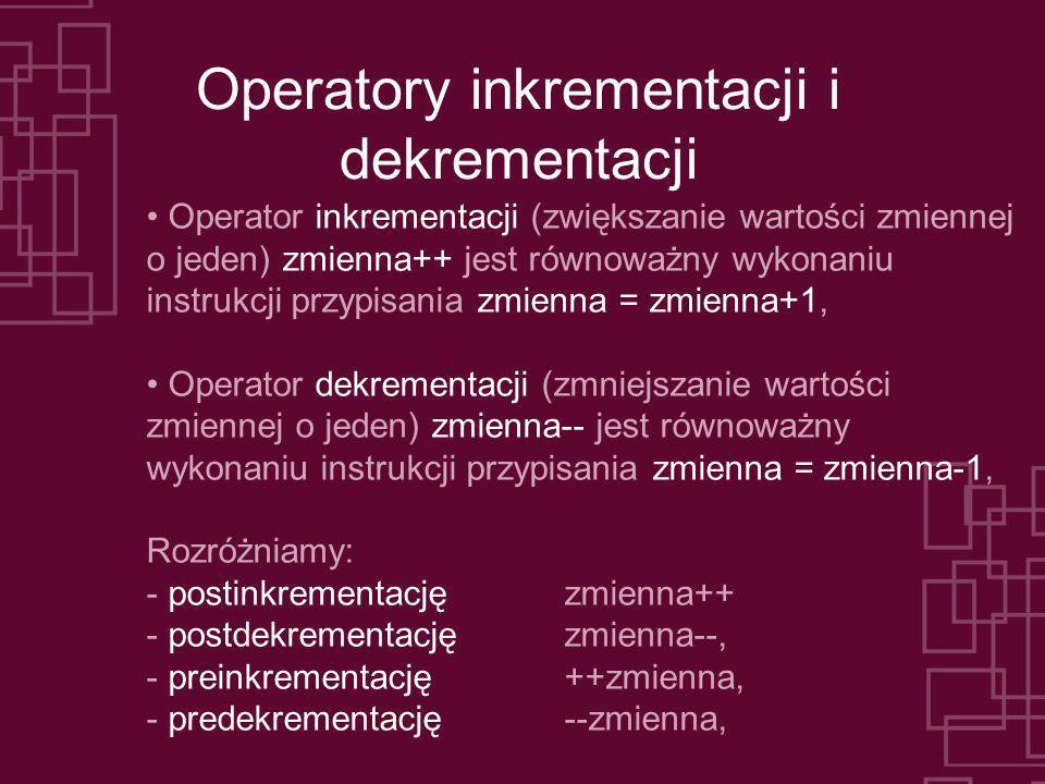 Operatory inkrementacji i dekrementacji