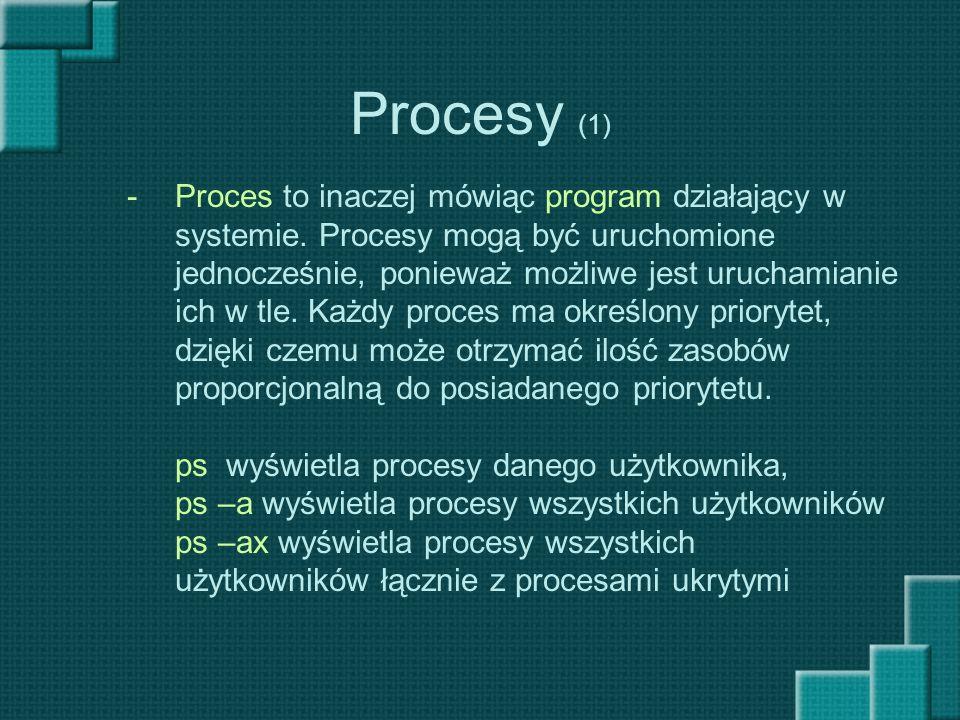 Procesy (1) Proces to inaczej mówiąc program działający w