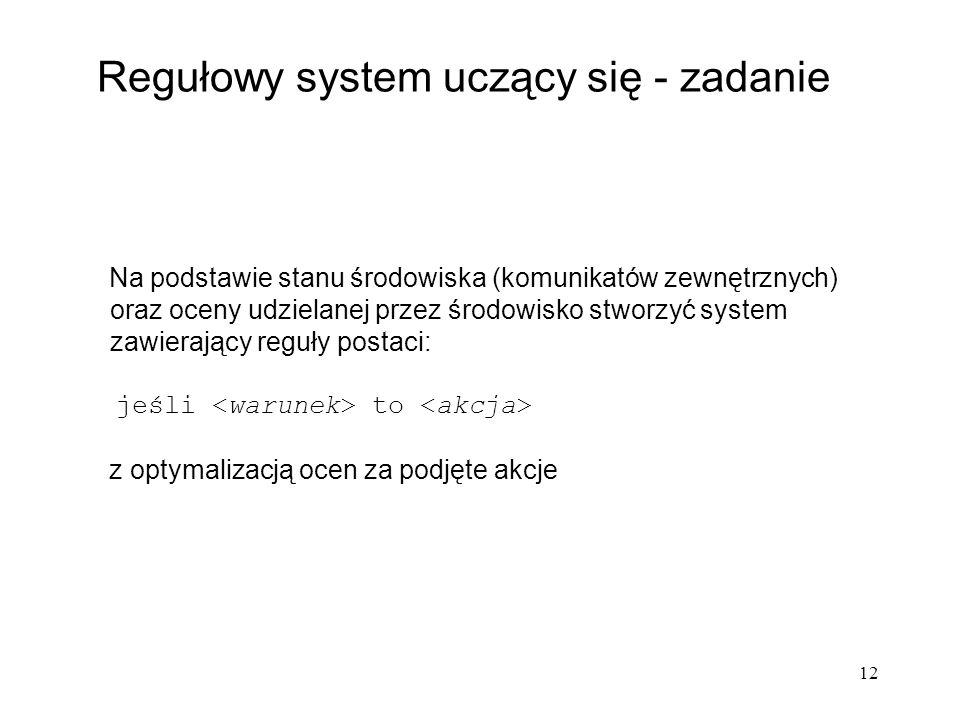 Regułowy system uczący się - zadanie
