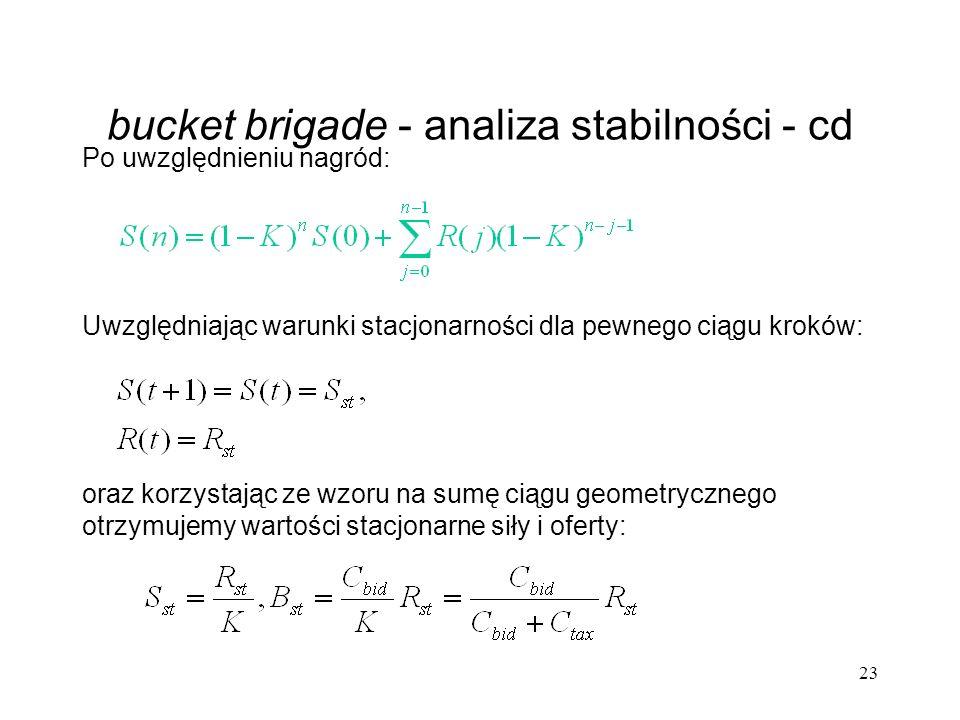 bucket brigade - analiza stabilności - cd