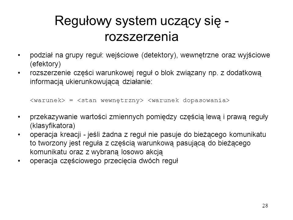 Regułowy system uczący się - rozszerzenia