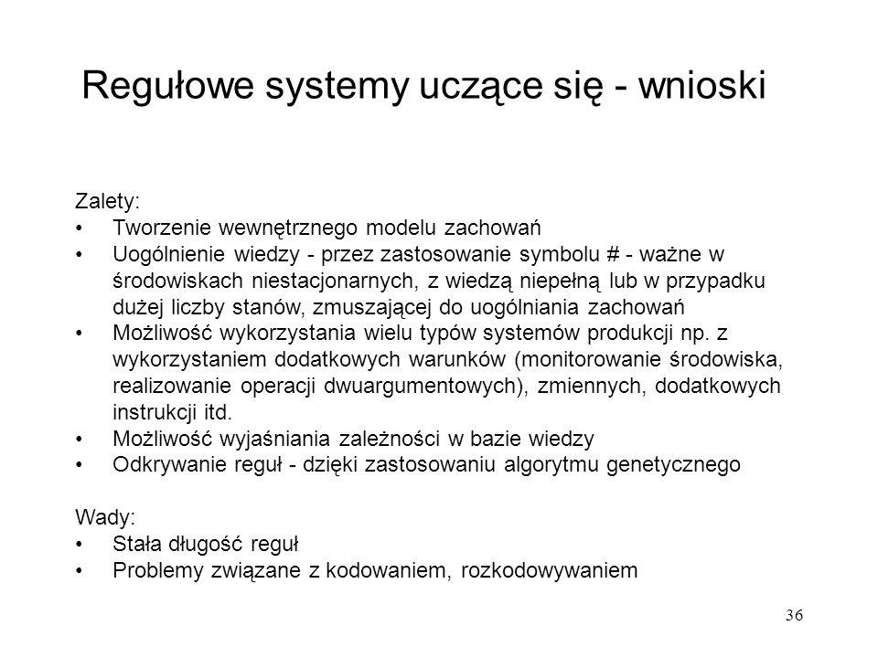 Regułowe systemy uczące się - wnioski