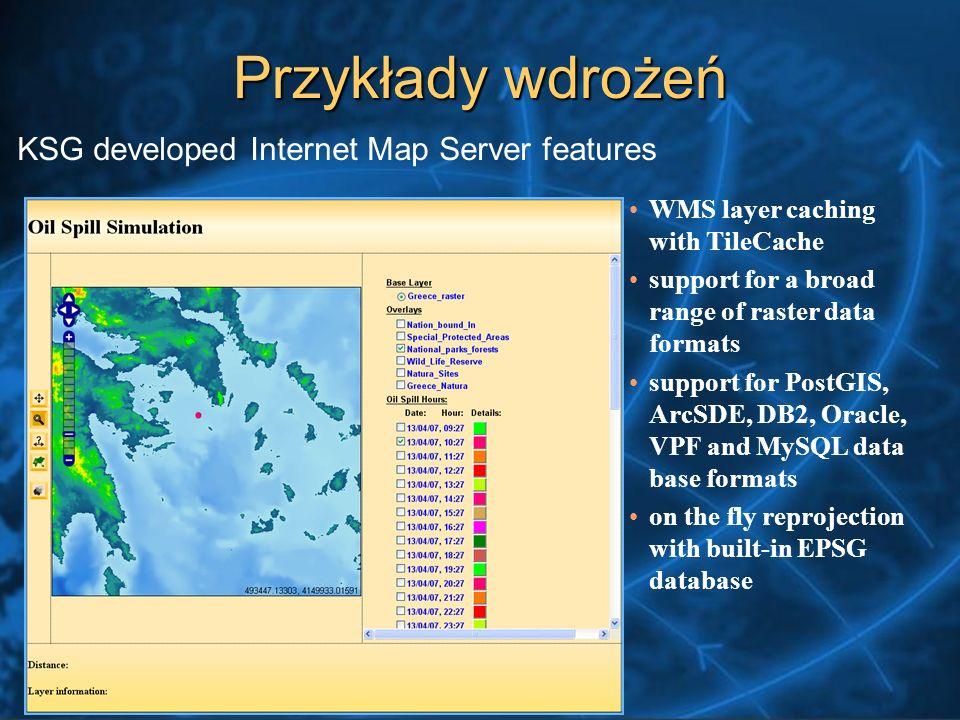 Przykłady wdrożeń KSG developed Internet Map Server features